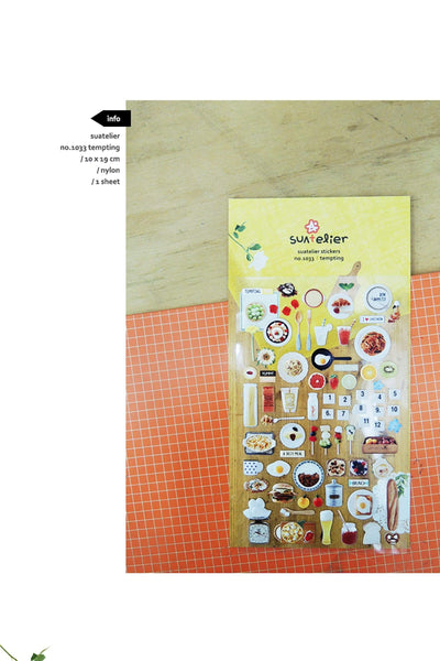 Suatelier Sonia PVC Transparent Stickers 1033 | Tempting Food Meals Baguette Eggs Pretzel - The Stationery Life!