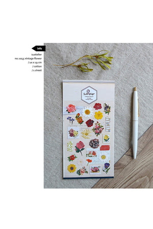 Suatelier Sonia PVC Transparent Stickers 1045 | Vintage Flower Daisy Sticker Rose Sticker Sunflower - The Stationery Life!