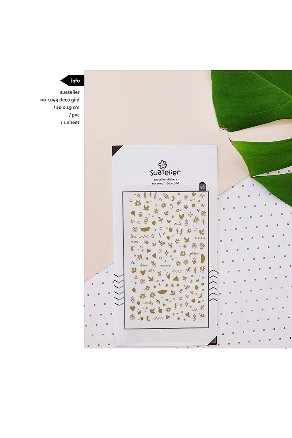 Suatelier Sonia PVC Transparent Stickers 1059 | Deco GIld Tiny Gold Foil Stickers - The Stationery Life!