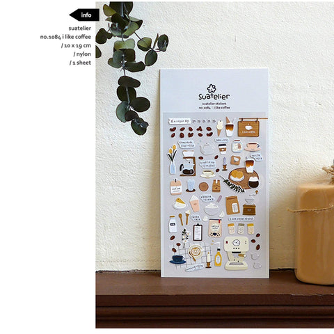 Suatelier Sonia PVC Transparent Stickers 1084 | I Like Coffee Café Barista Cappuccino Cold Brew - The Stationery Life!