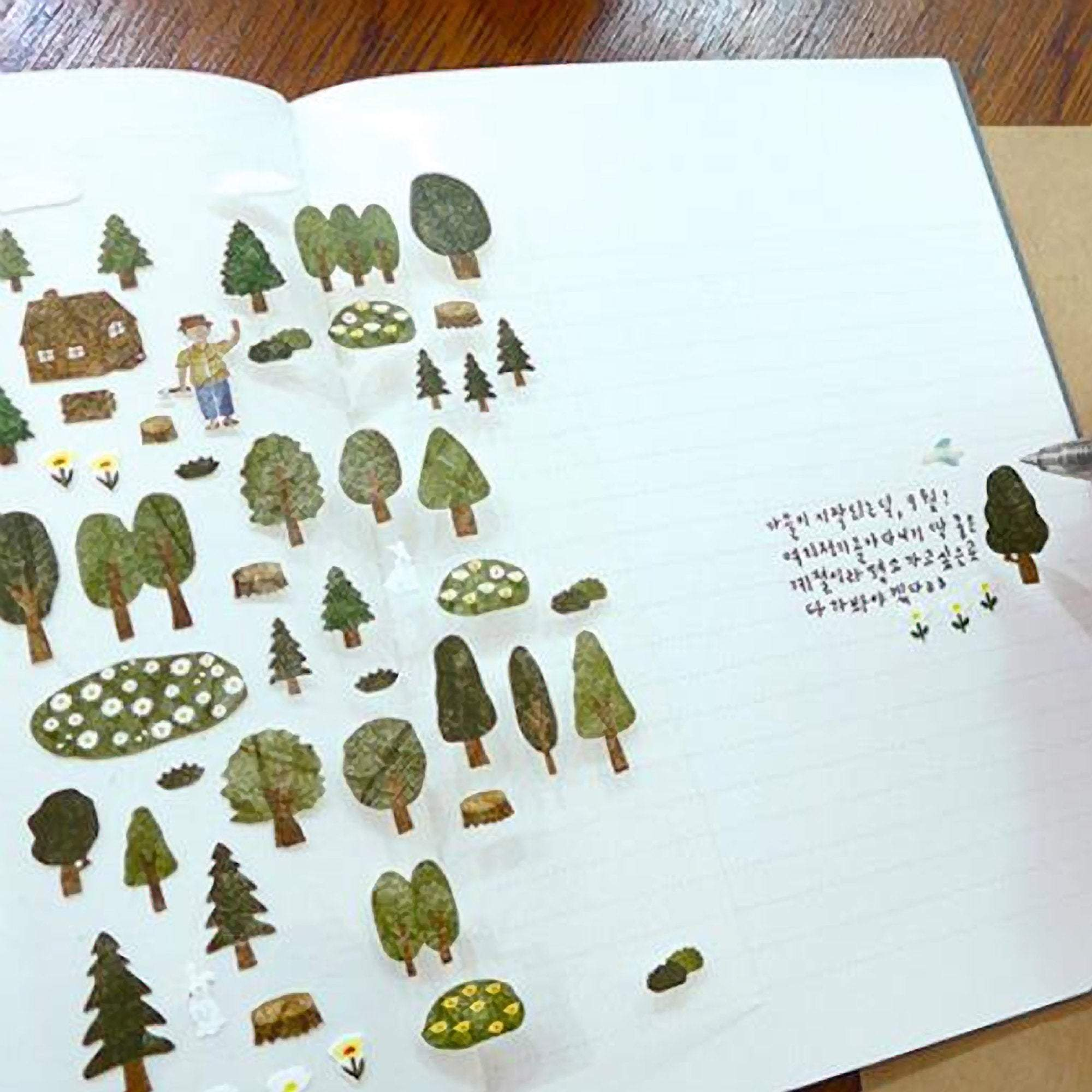 Suatelier Sonia PVC Transparent Stickers | Forest Camping - The Stationery Life!