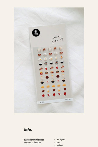 Suatelier Sonia PVC Transparent Stickers Mini Series 101 | Food 01 Pizza Cheeseburger Donut Fries - The Stationery Life!