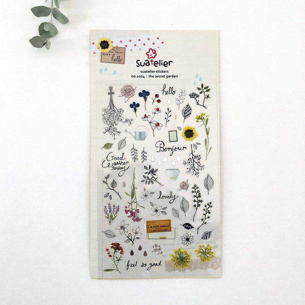Suatelier Sonia PVC Transparent Stickers - Secret Garden - The Stationery Life!