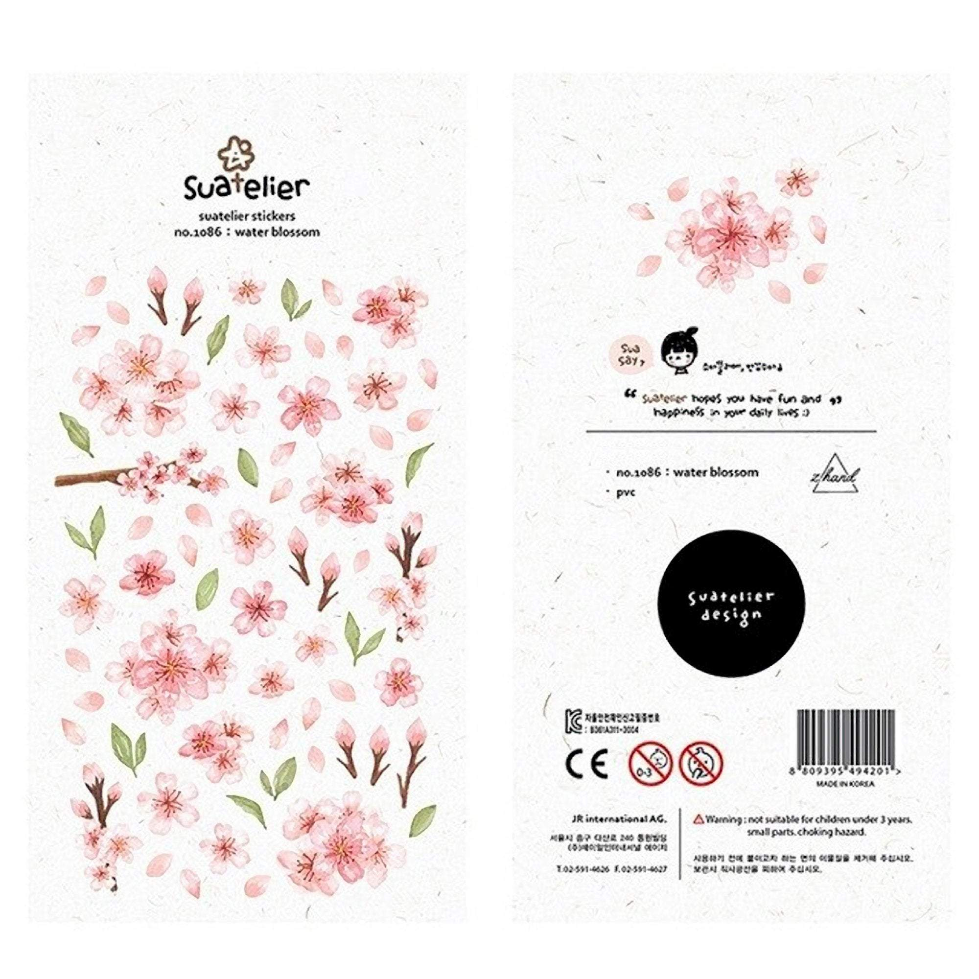 Suatelier Sonia PVC Transparent Stickers | Water Blossom Cherry Blossom Sakura - The Stationery Life!