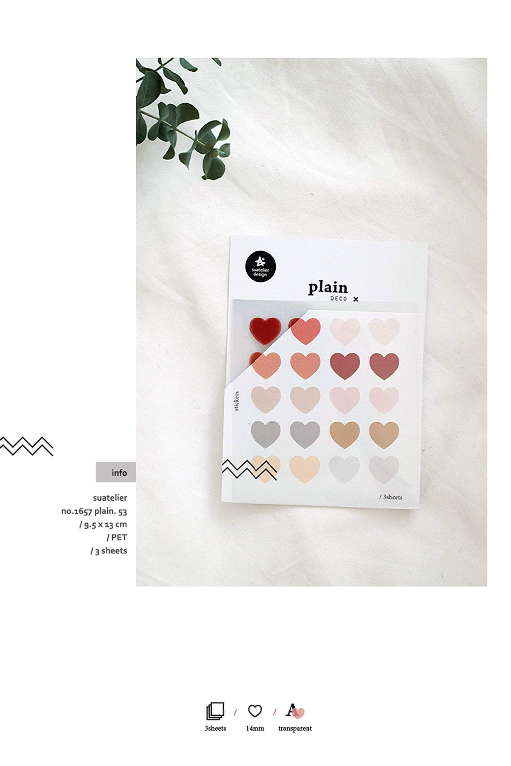 Suatelier Translucent Planner Stickers 1657 | Plain Shapes 53 Heart Translucent Stickers - The Stationery Life!