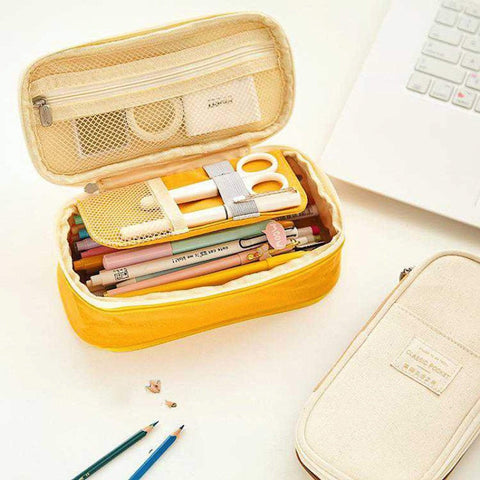 YELLOW Expandable Canvas Pen Case Pencil Case Expandable Case Storage Case - The Stationery Life!