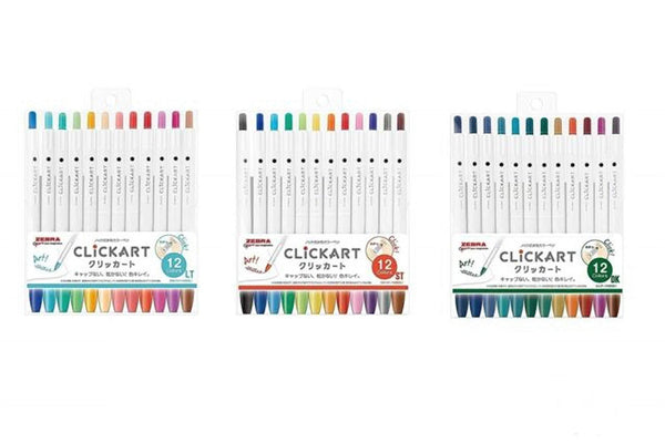 Zebra Clickart Knock Sign Pen 0.6 mm 12 Color Set NON-DRYING | DK Colors - The Stationery Life!