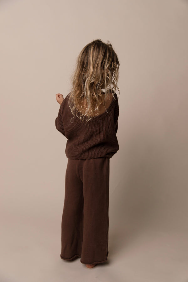 Kids Scoop Back Sweater | Chocolate