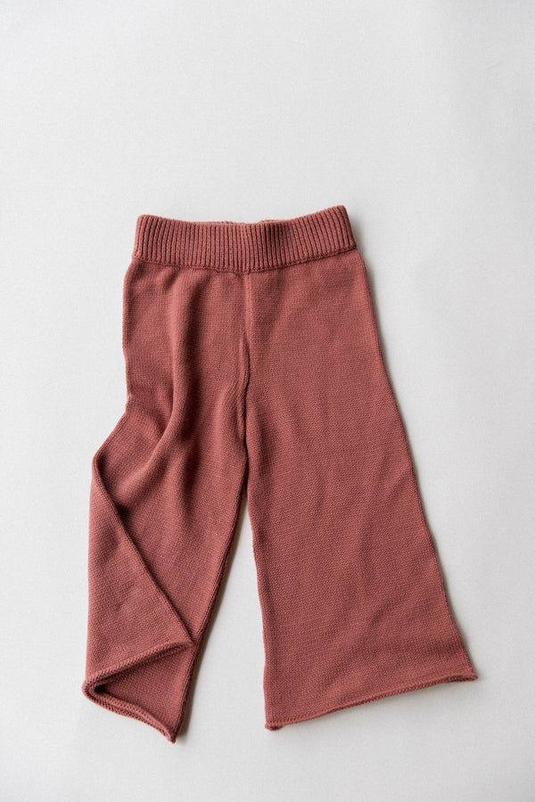 Wide Leg Knit Pants | Brick