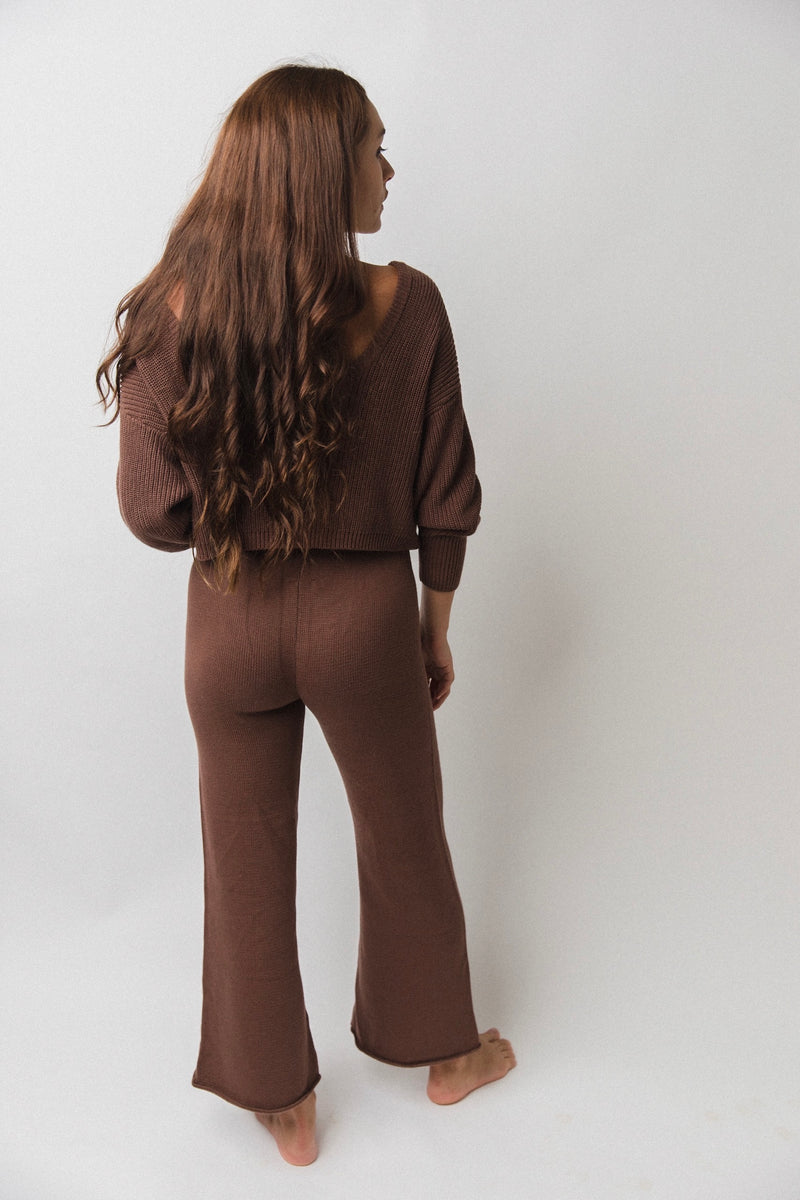 Women's Wide Leg Knit Pants | Chocolate