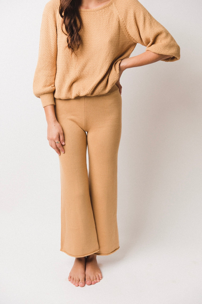 Women's Wide Leg Knit Pants | Mustard