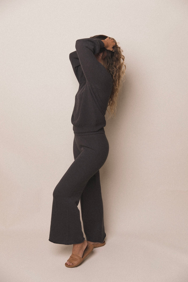 Women's Wide Leg Knit Pants | Charcoal