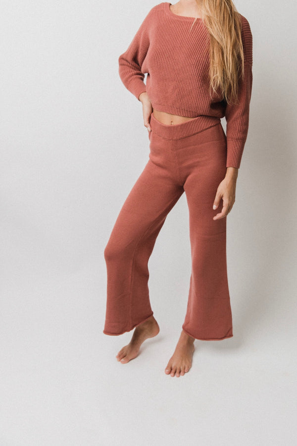 Women's Wide Leg Knit Pants | Brick