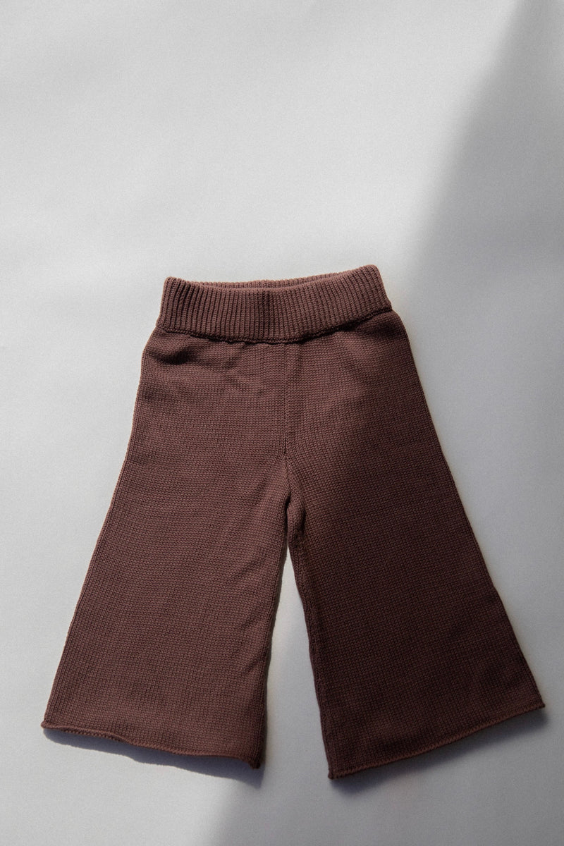 Wide Leg Knit Pants | Chocolate