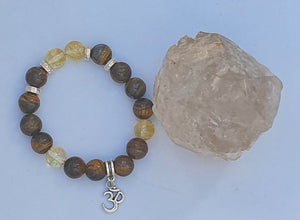 Tigers eye & Citrine Crystal Bracelet