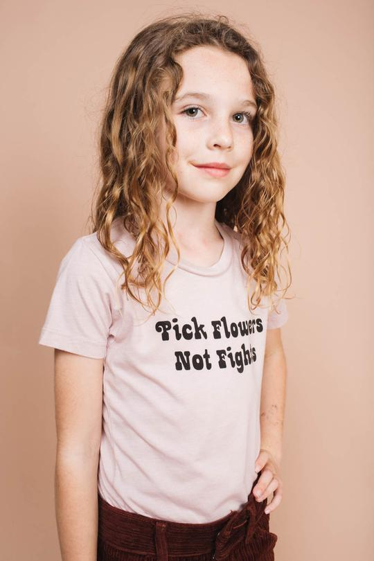 Pick flowers not fights tee - pink