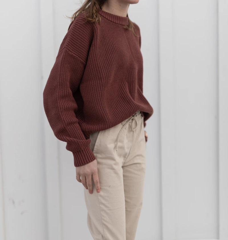 Kindly Her | Women's chunky knit pullover - mulberry