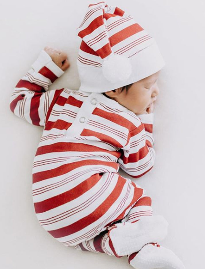 Lovedbaby | Organic sleeper + cap set - peppermint stripe