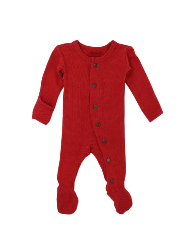 Lovedbaby | Organic footed sleeper - red thermal