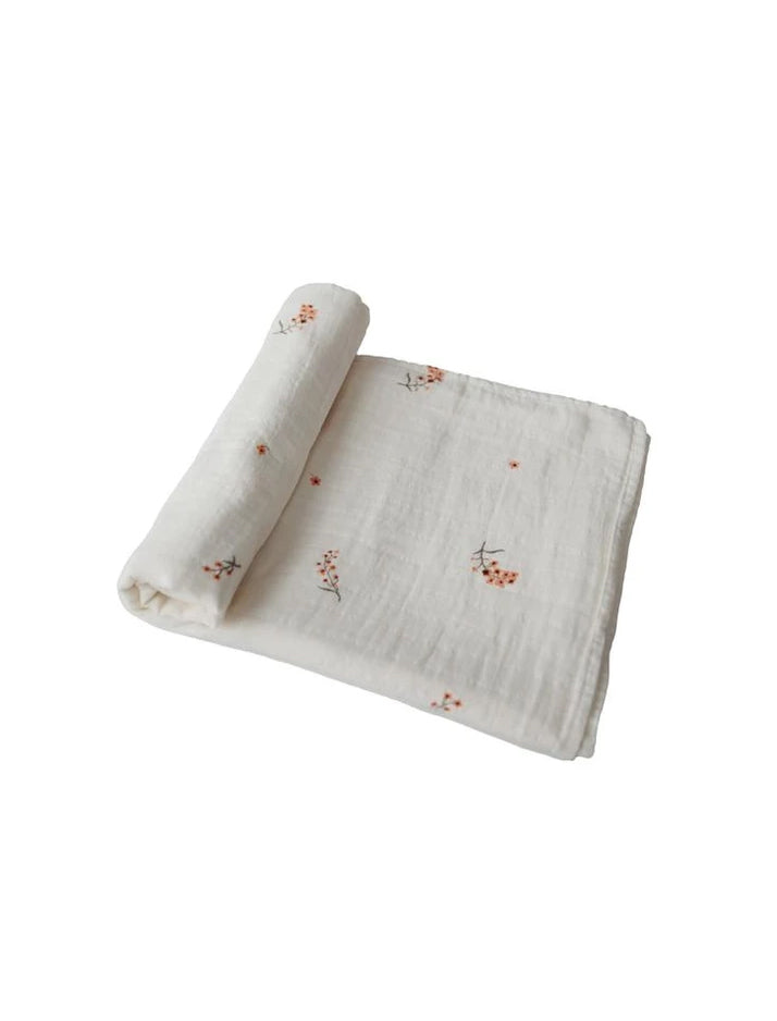 Mushie | Organic cotton muslin swaddle blanket (flowers)