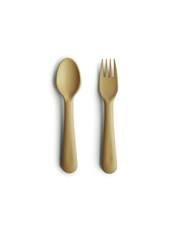 Mushie | Fork and spoon set (mustard)