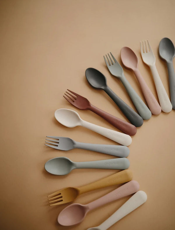 Mushie | Fork and spoon set (blush)