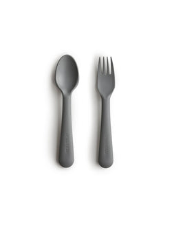Mushie | Fork and spoon set (smoke)