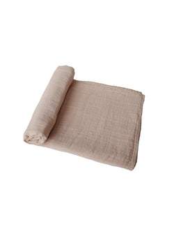 Mushie | Organic cotton muslin swaddle blanket (pale taupe)