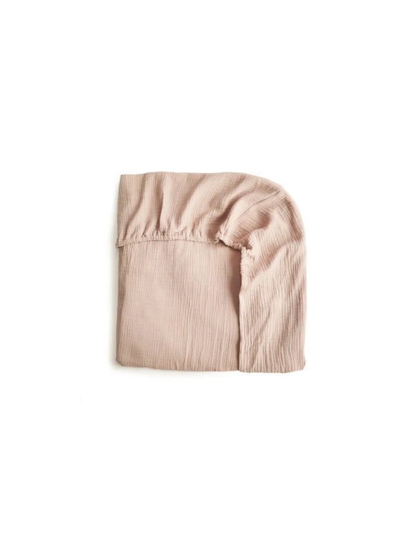 Mushie | Organic cotton muslin crib sheet (blush)