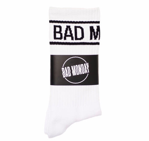 Bad Monday Socks White With Stripe