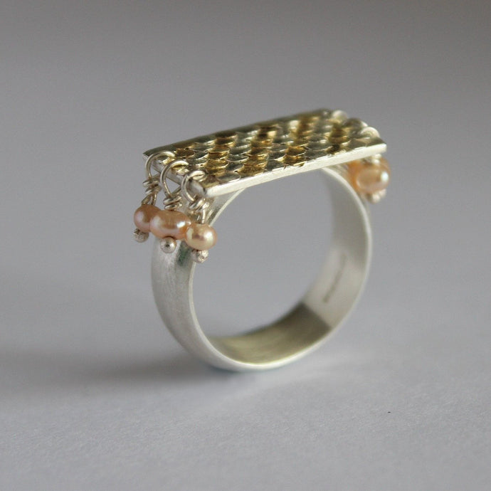 Aphrodite silver and gold siren ring