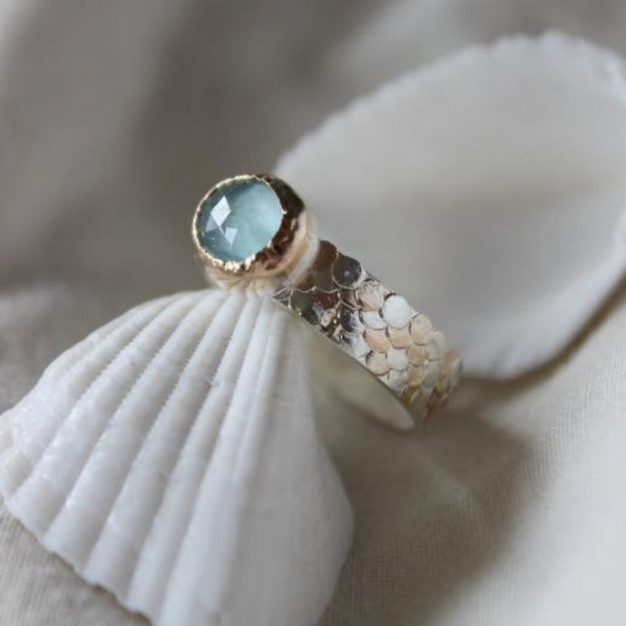 Aquamarine silver and gold Siren ring