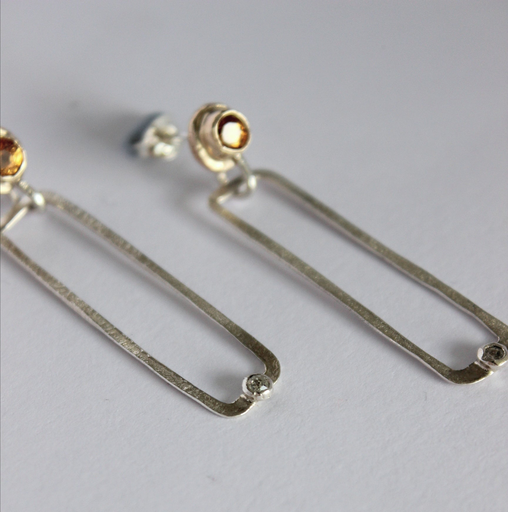 Hessonite drop earrings