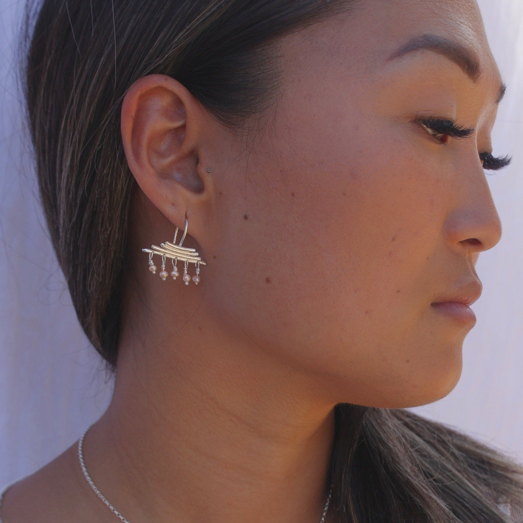Silver pyramid and pearl fine earrings