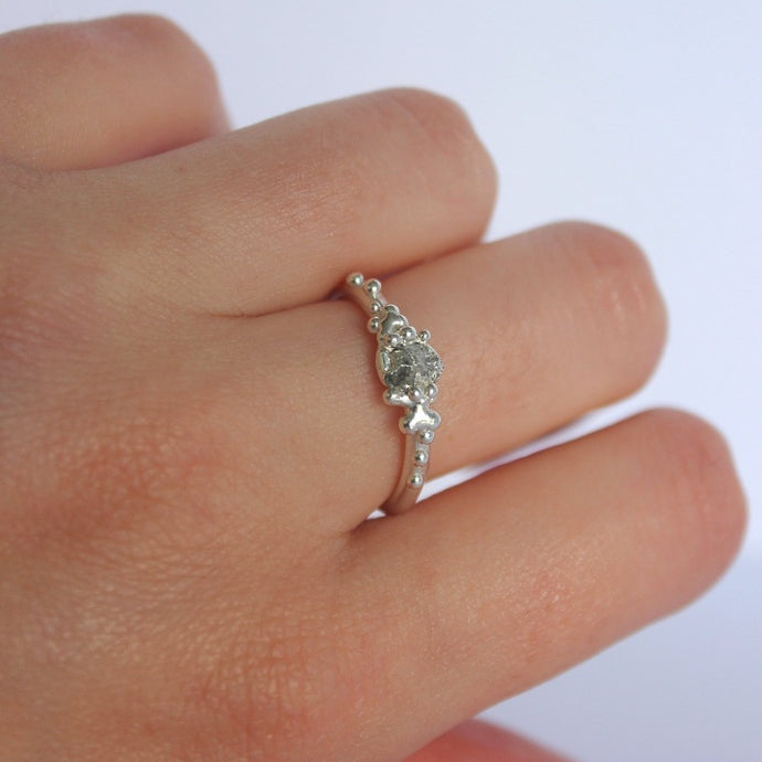 Raw Diamond cluster ring