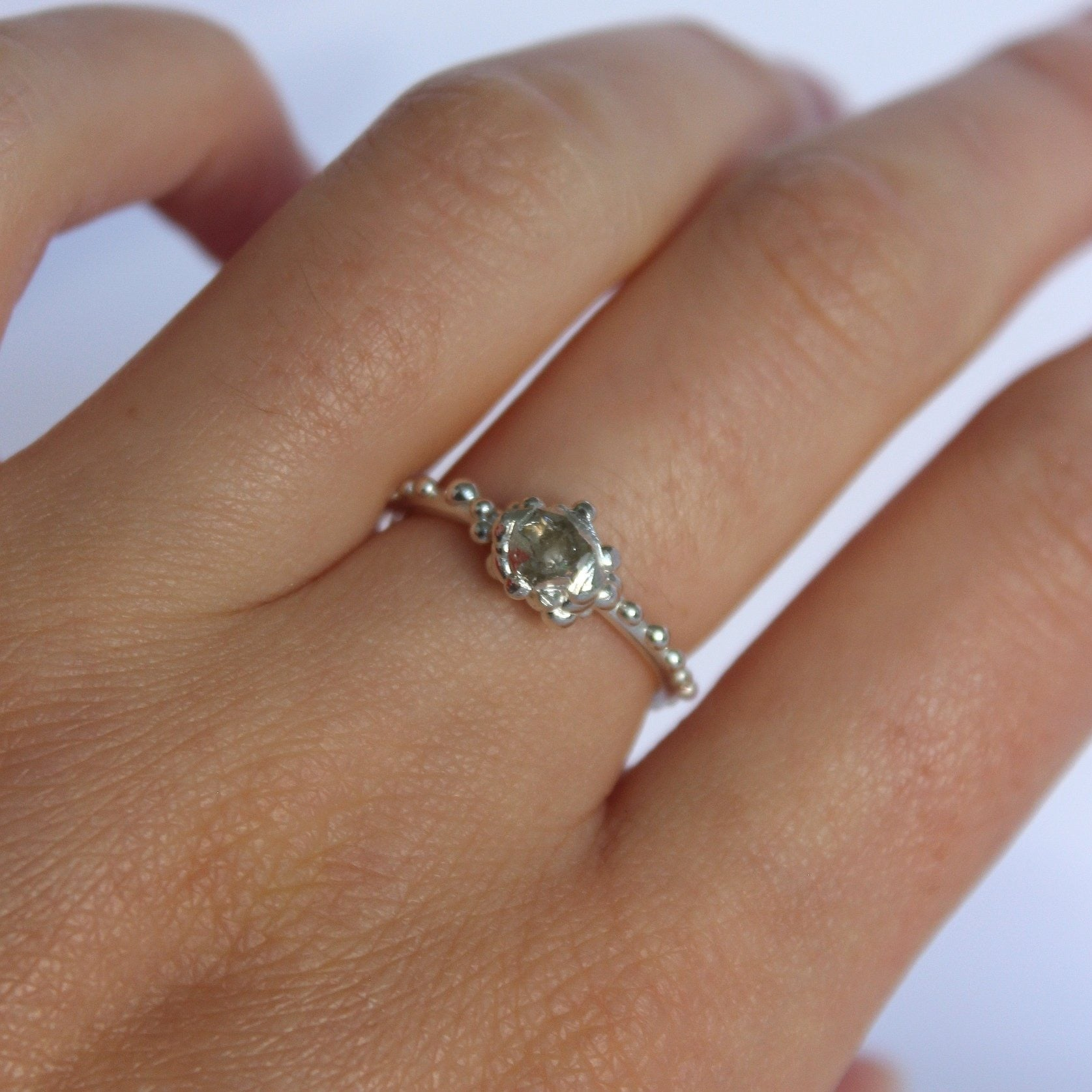 Silver Herkimer Diamond cluster ring