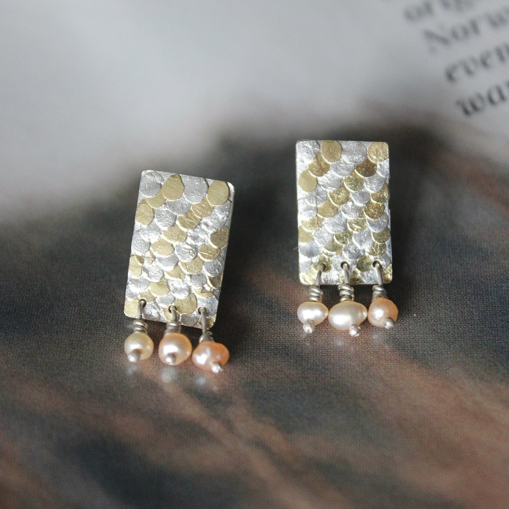 Siren silver and gold pearl studs