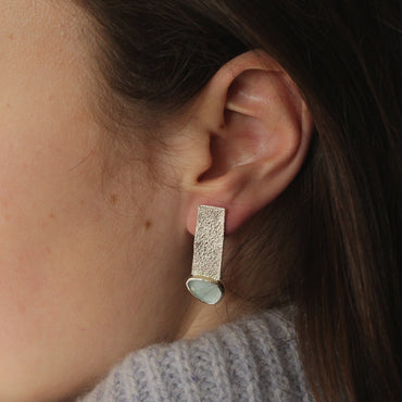 Aquamarine and textured silver drop earrings