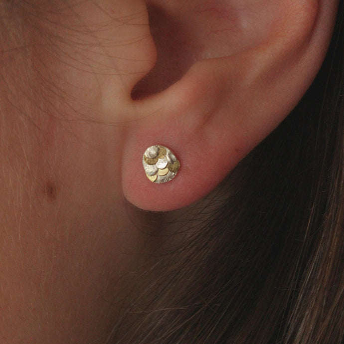 Delicate silver and gold Siren studs