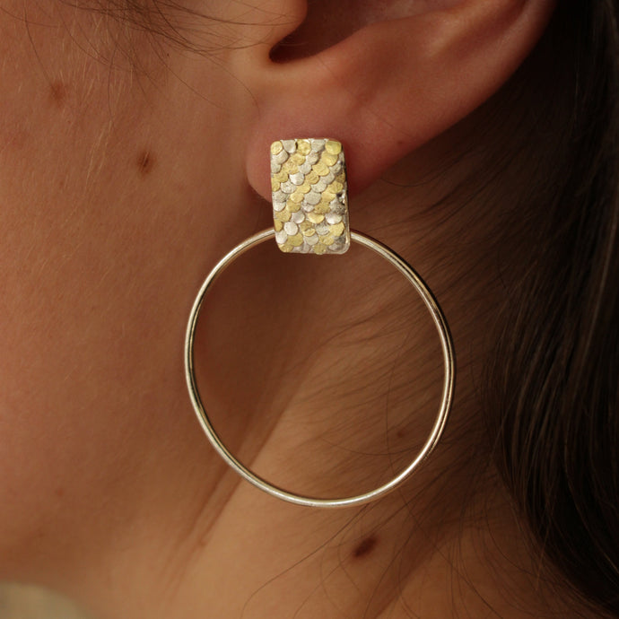 Silver and gold Siren hoop earrings