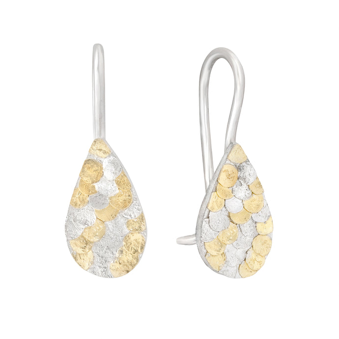 Silver and gold Siren tear drop earrings