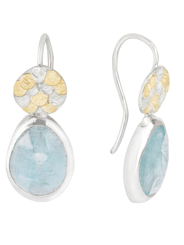 Aquamarine silver and gold Siren drop earrings