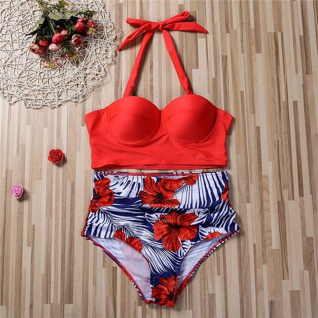 Plus Size Padded Bra + High Waist Bathing Suit - GORGEOUS 271, LLC