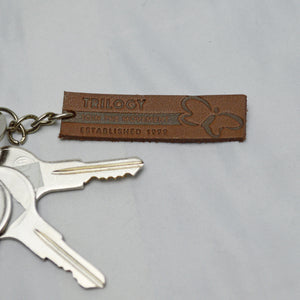 Live Happier Leather Key Chain