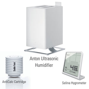 Anton Ultrasonic Humidifier, Selina Hygrometer & AntiCalc Cartridge Bundle