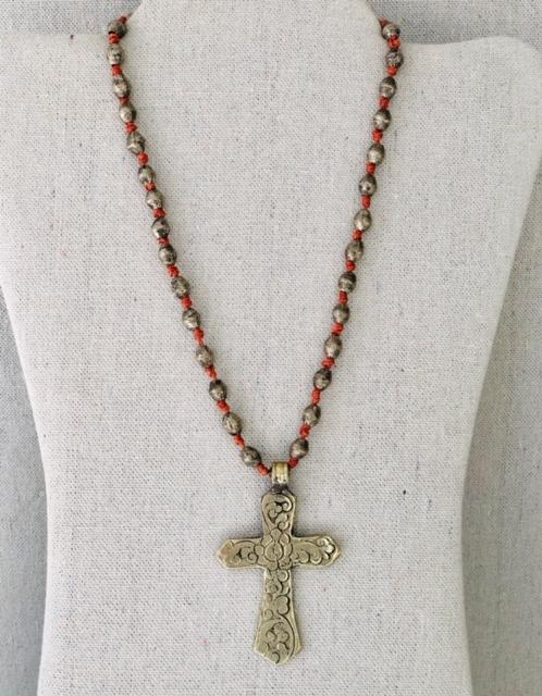 Vintage Silver Cross And African Silver Beaded Chain