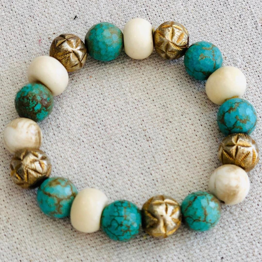 Turquoise, Bone And Brass Bracelet