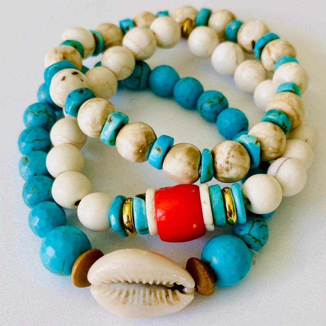 Turquoise, Coral, And Shell Bracelet Stack