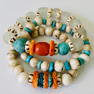Seaglass, Coral, Turquoise, And Shell Bracelet Stack