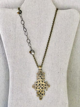 Load image into Gallery viewer, Vintage Coptic Cross On Brass And Silver Chain